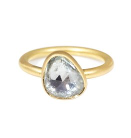 Organic Shaped White Sapphire Ring in 18k Yellow Gold