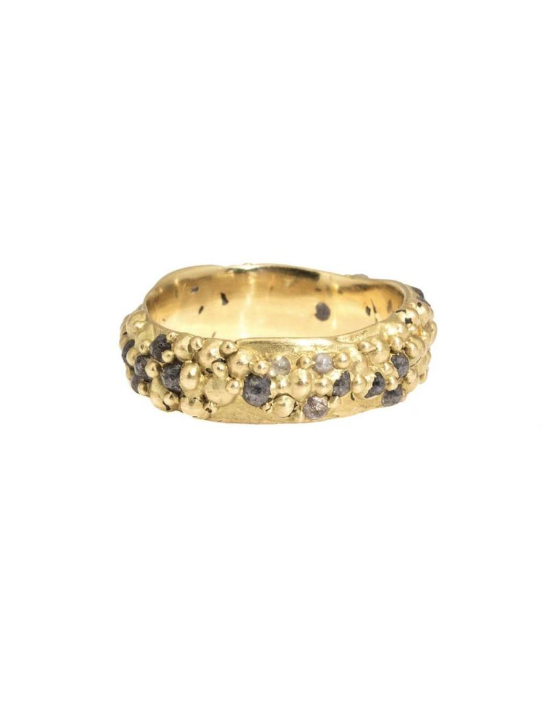 Wide Pinched Band with Grey and White Rose Cut Diamonds in 18k Yellow Gold