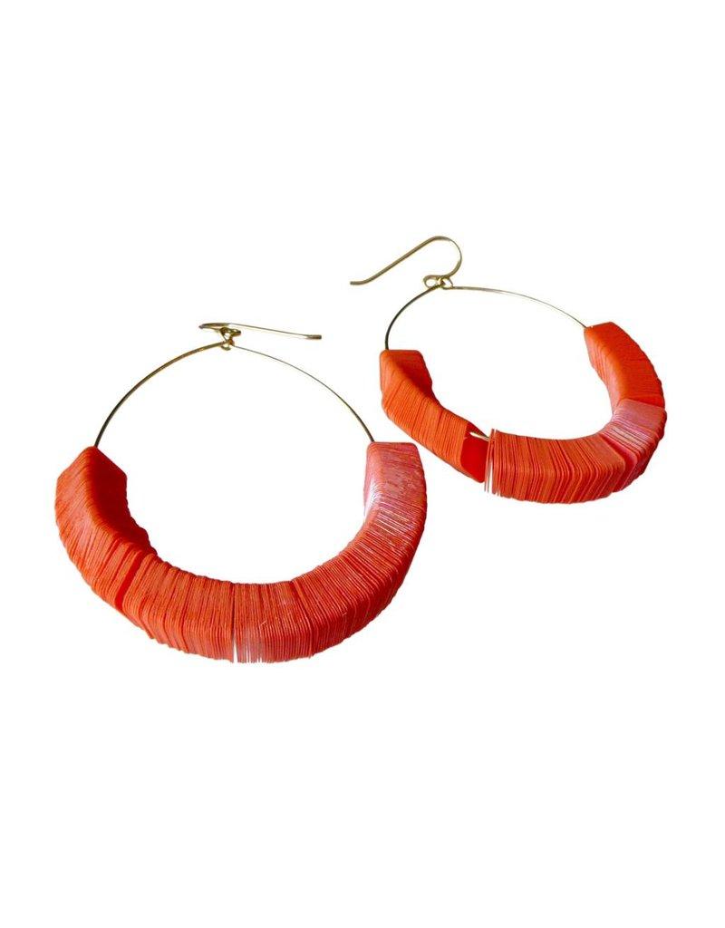 Orange Squares Earrings Large