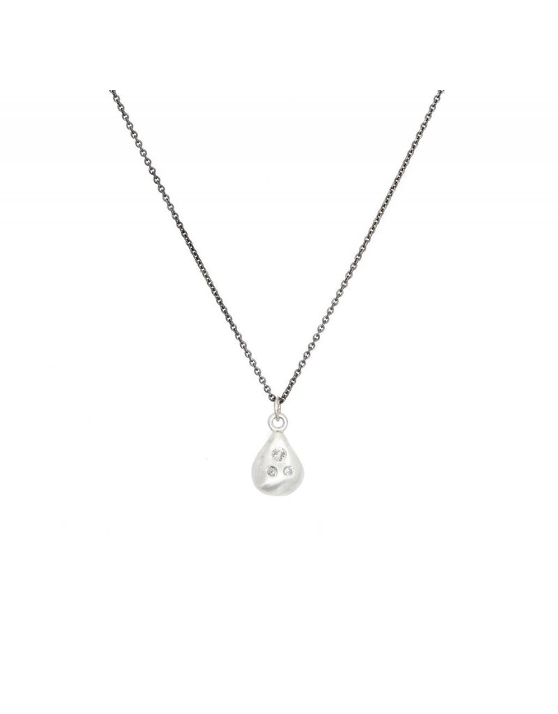 Double-Sided Pendant in Silver with Raw and Brilliant Diamonds