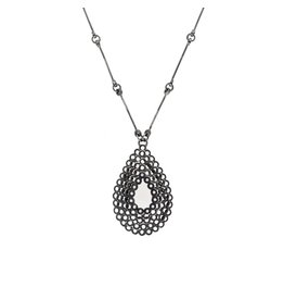 Stacked Teardrop Pendant with Diamonds in Oxidized Silver