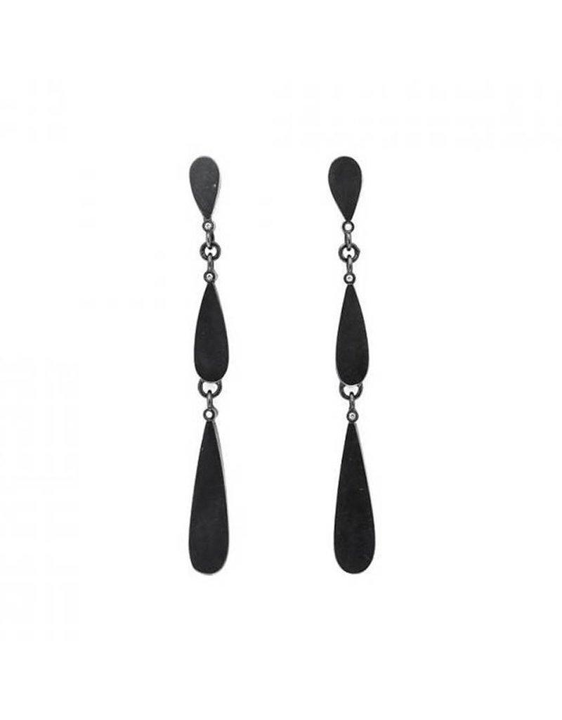 Teardrop Diamond Dangle Post Earrings with White Diamonds in Oxidized Silver