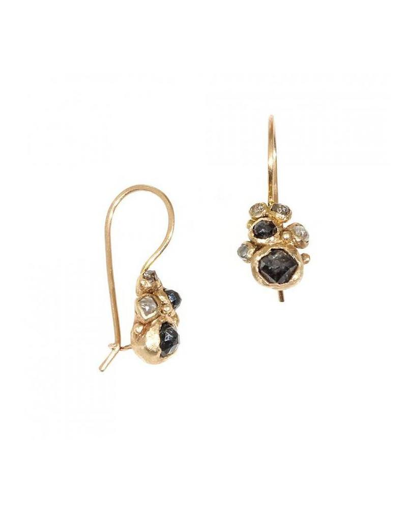 Raw Grey Diamond Cluster Drop Earrings in 14k Yellow Gold