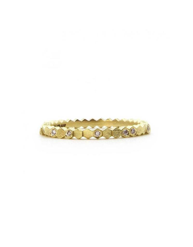 Single Hex Ring in 18k Yellow Gold with Diamonds