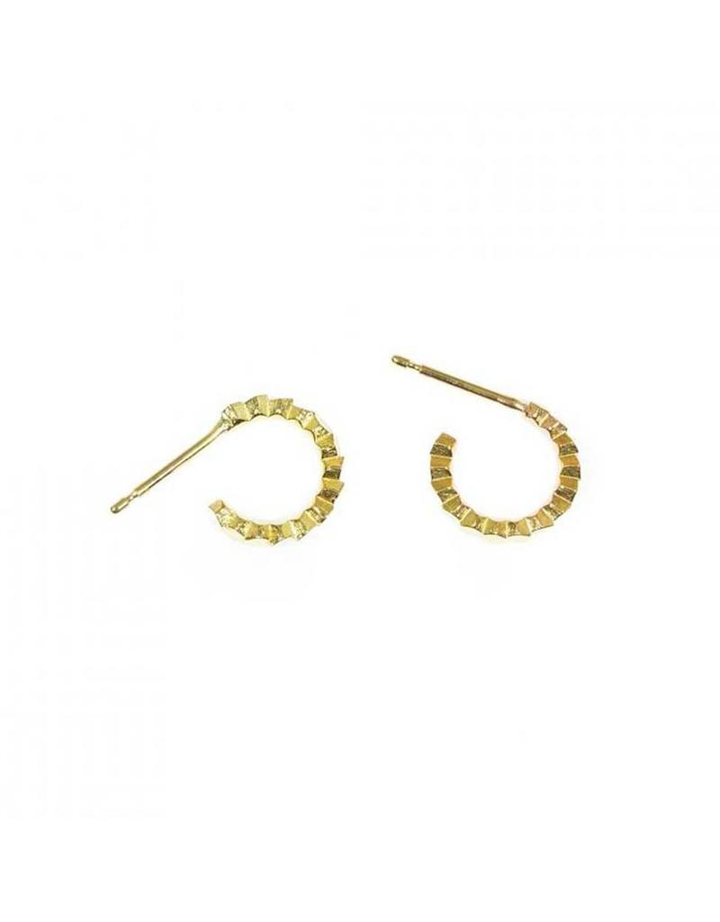 Single Hex Hoop Earrings in 18k Yellow Gold