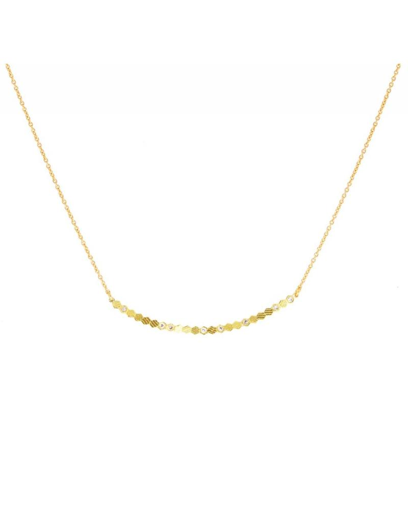 Hex Bar Necklace in 18k Yellow Gold with Diamonds