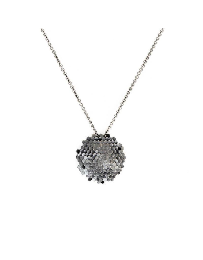 Small Closed Hex Pendant in Oxidized Silver