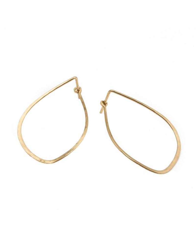 Mussel Hoop Earrings in 14k Yellow Gold