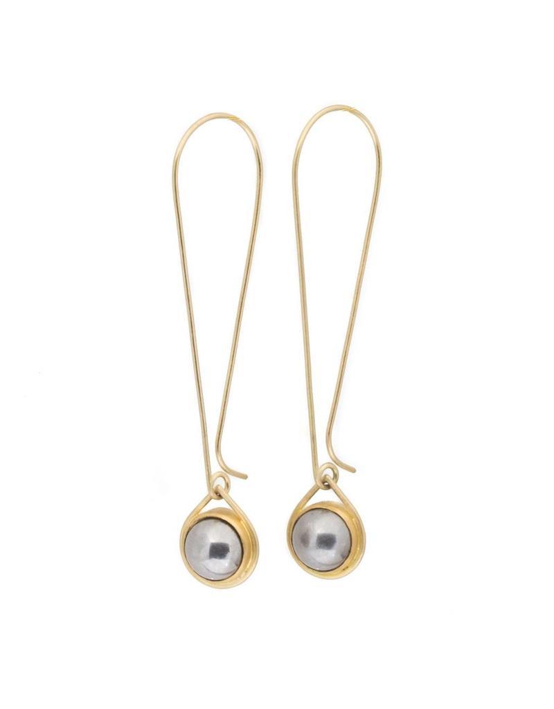 Ball Bearing Drop Earrings  in 18k Yellow Gold