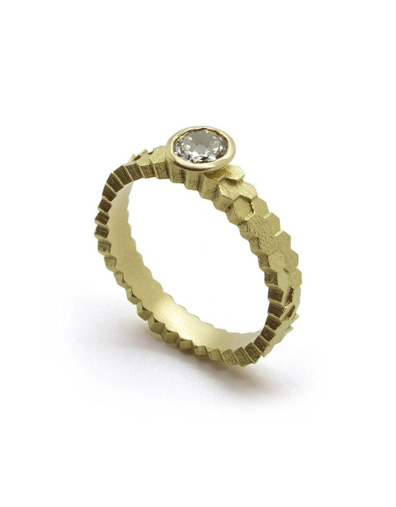 Double Hex Solitaire Ring in 18k Yellow Gold