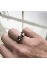 Long Dark Grey Oval Rose Cut Diamond Ring in 18k Warm White Gold