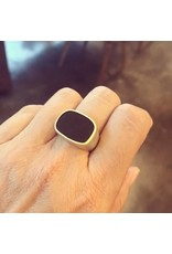 Matte Black Tourmaline Ring with 18k Yellow Gold Bezel in Silver