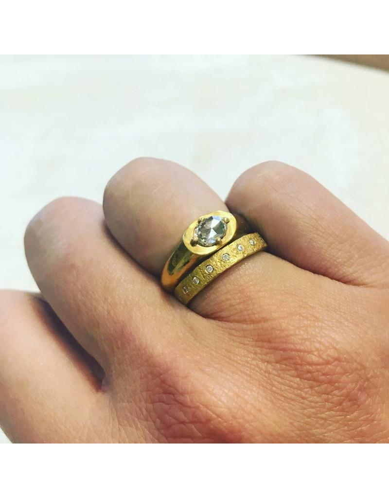Band Ring with Prong Set Oval Rose Cut Diamond in 22k Gold