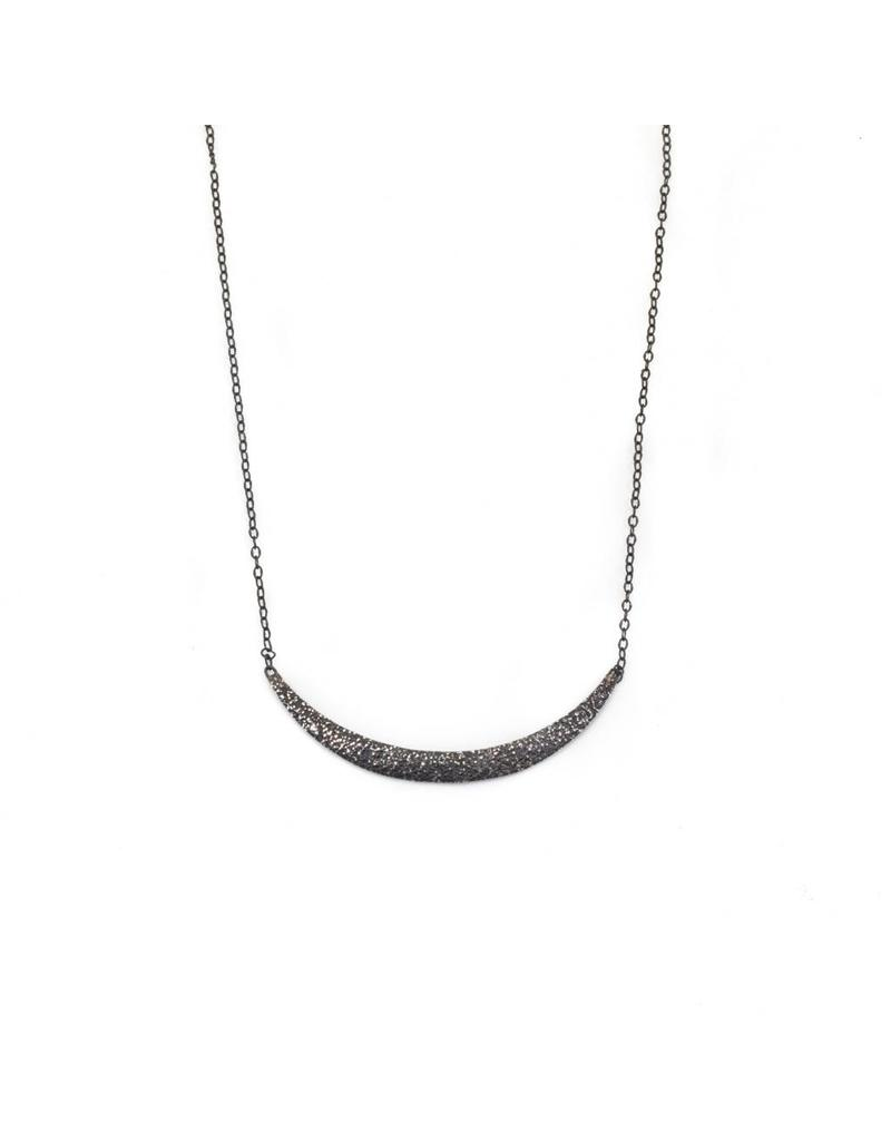 Curved Sand Bar Necklace in Oxidized Silver