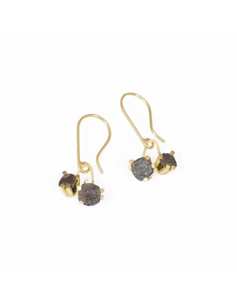 Double Nail Head Drop Earrings in 18k Yellow Gold