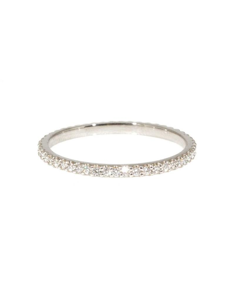 Micro Pave Eternity Band Ring with White Diamonds in Platinum