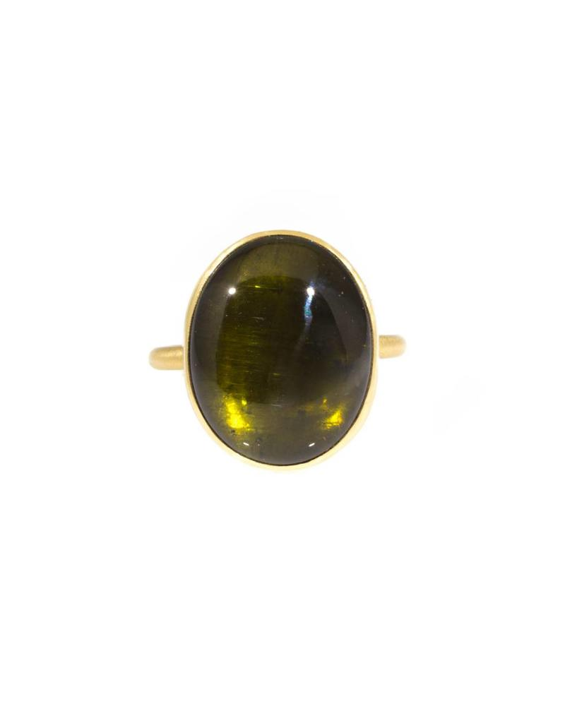 Green Tourmaline Cabochon Thin Band Ring in 18K Gold