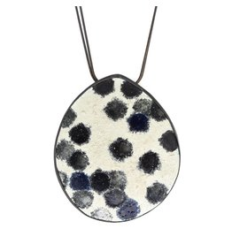 Large Egg Enamel Pendant in Oxidized Silver