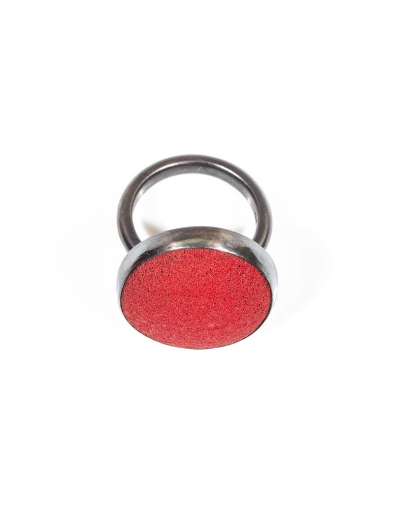 Red Enamel Underfired Ring in Oxidized Silver