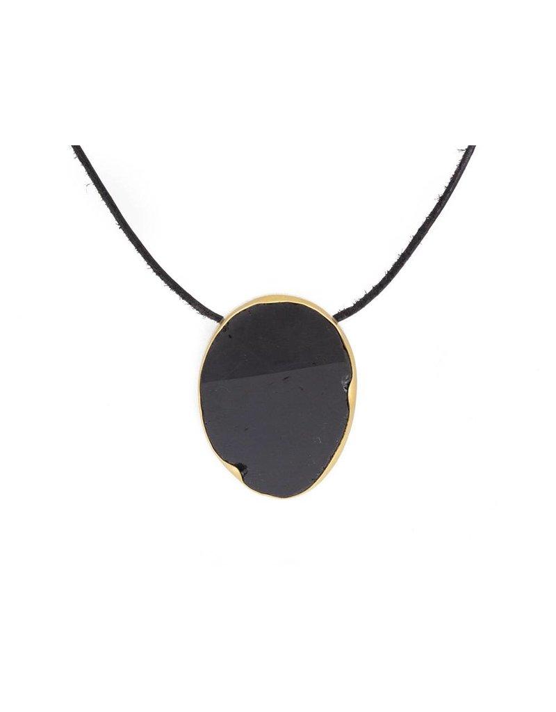 Black Tourmaline Matte Pendant with 22k Gold Bezel and Silver
