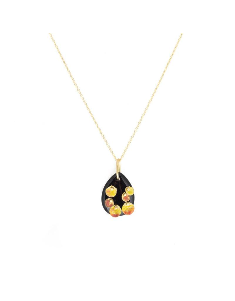 Small Black Onyx Pendant with Enameled Gold in Gold Chain