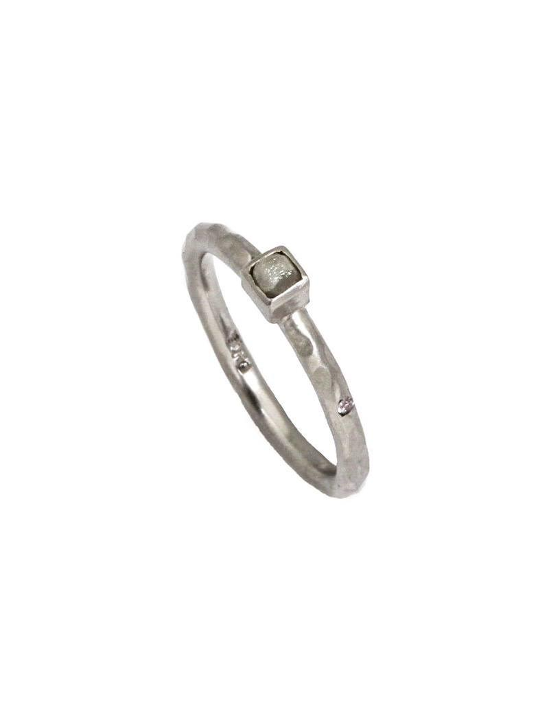 Raw Diamond Ring in Palladium