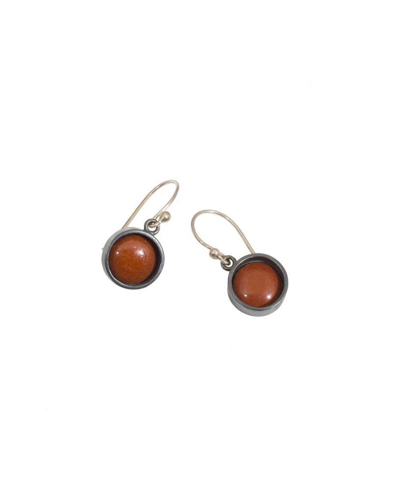 Rust Enamel Dot Earring in Oxidized Silver