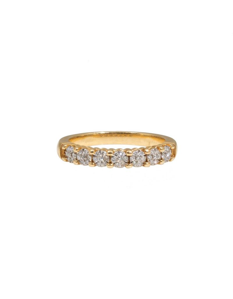 French Estate Floret Cluster Diamond Wedding Band in 18k Yellow Gold