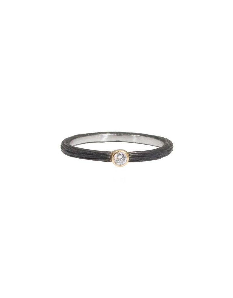 Pebble Stacking Ring with .05ct White Diamond in Steel and 18k Yellow Gold