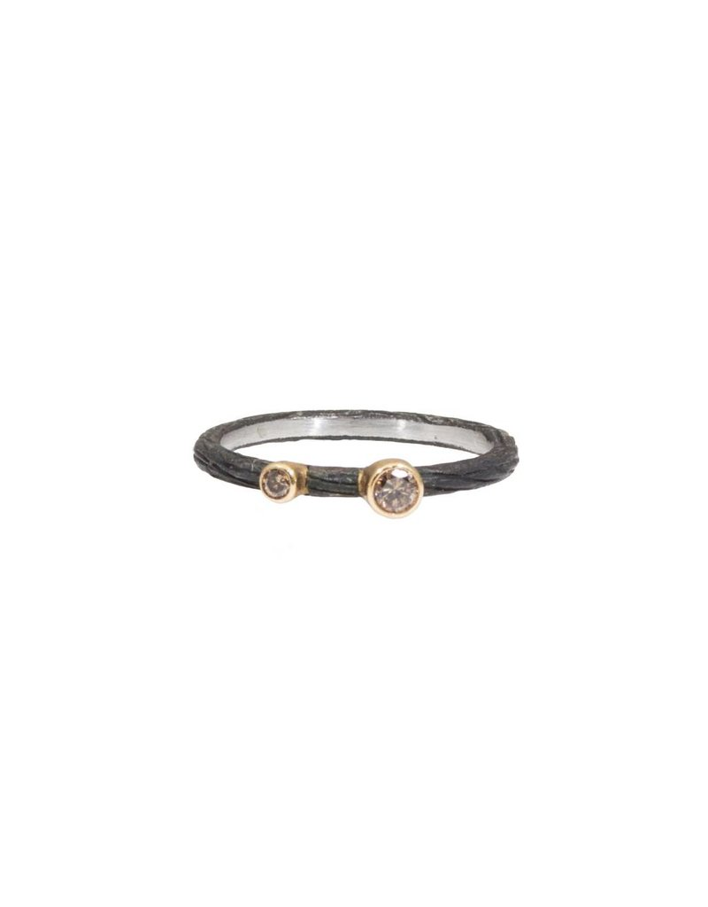 Pebble Stacking Ring with Cognac Diamonds in Steel and 18k Yellow Gold