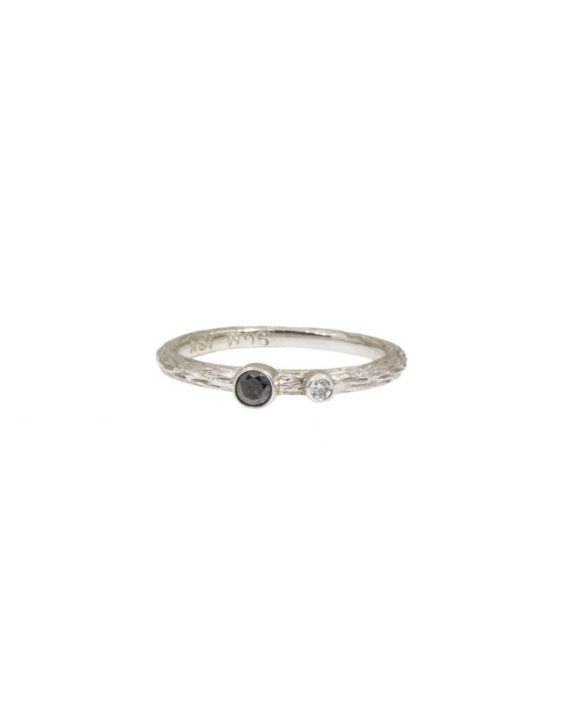 Pebble Stacking Ring with White and Black Diamonds in 18k White Gold
