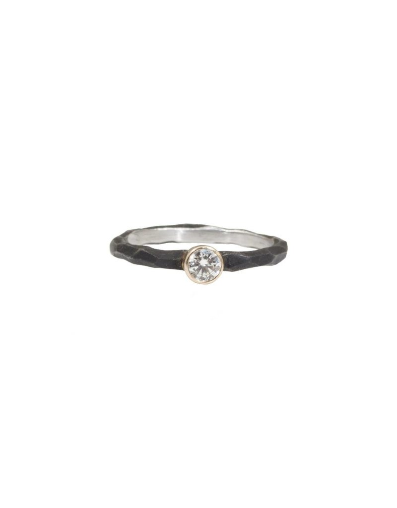 Rogue River Stacking Ring with White Diamond in Steel and 18k Yellow Gold