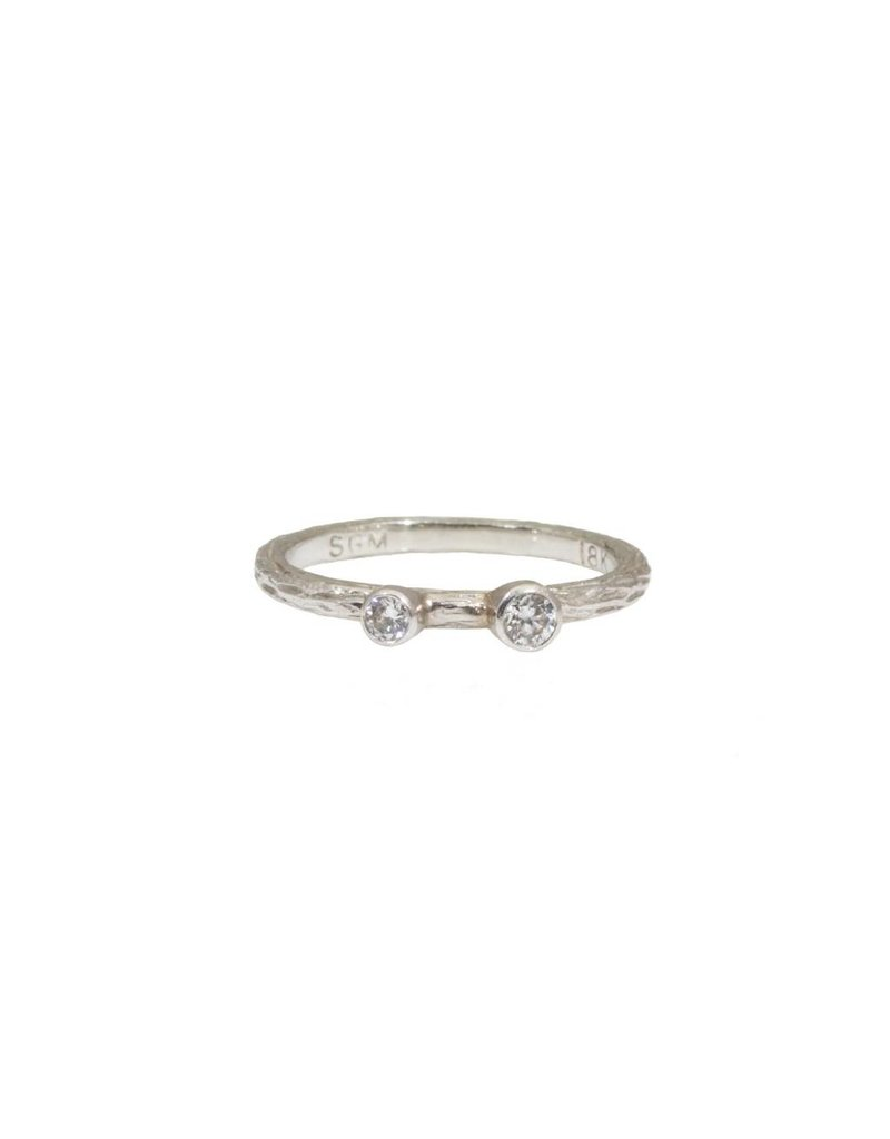 White Gold Pebble Stacking Ring with White Diamonds in 18k White Gold
