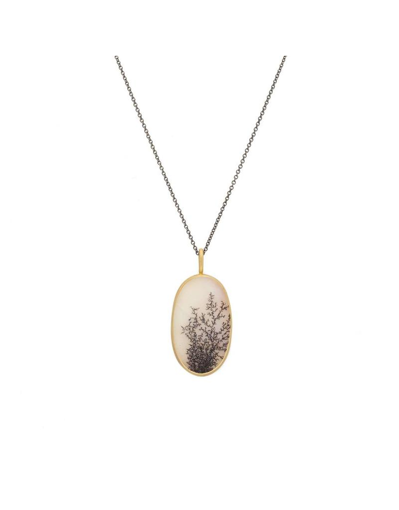 Dendritic Agate Necklace in 18k Yellow Gold