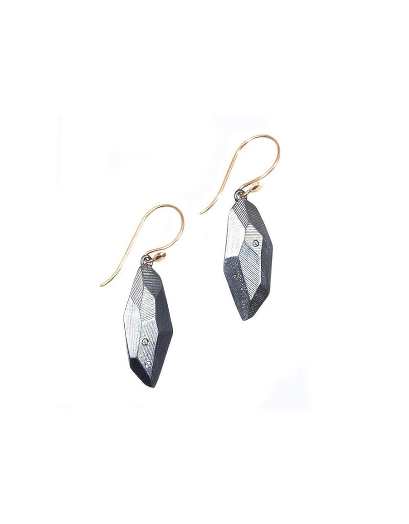Flat Faceted Earrings with White Sapphires in Oxidized Silver with 14k Gold Wires