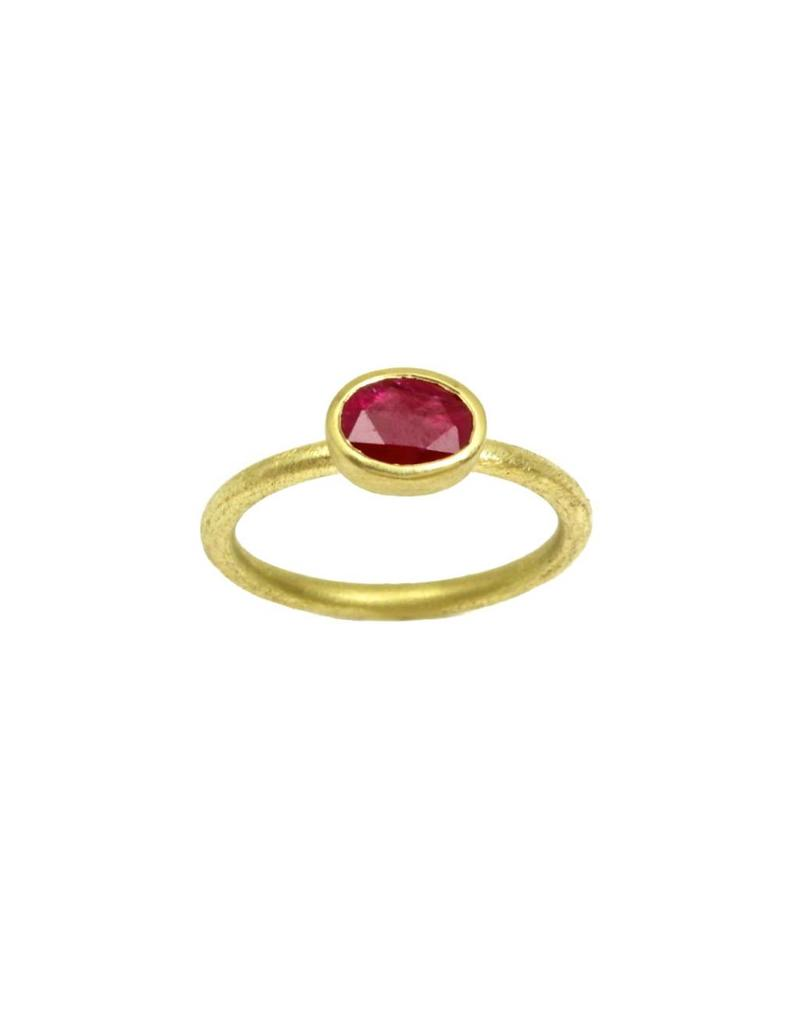 Oval Rose Cut Ruby Ring in 18k Yellow Gold