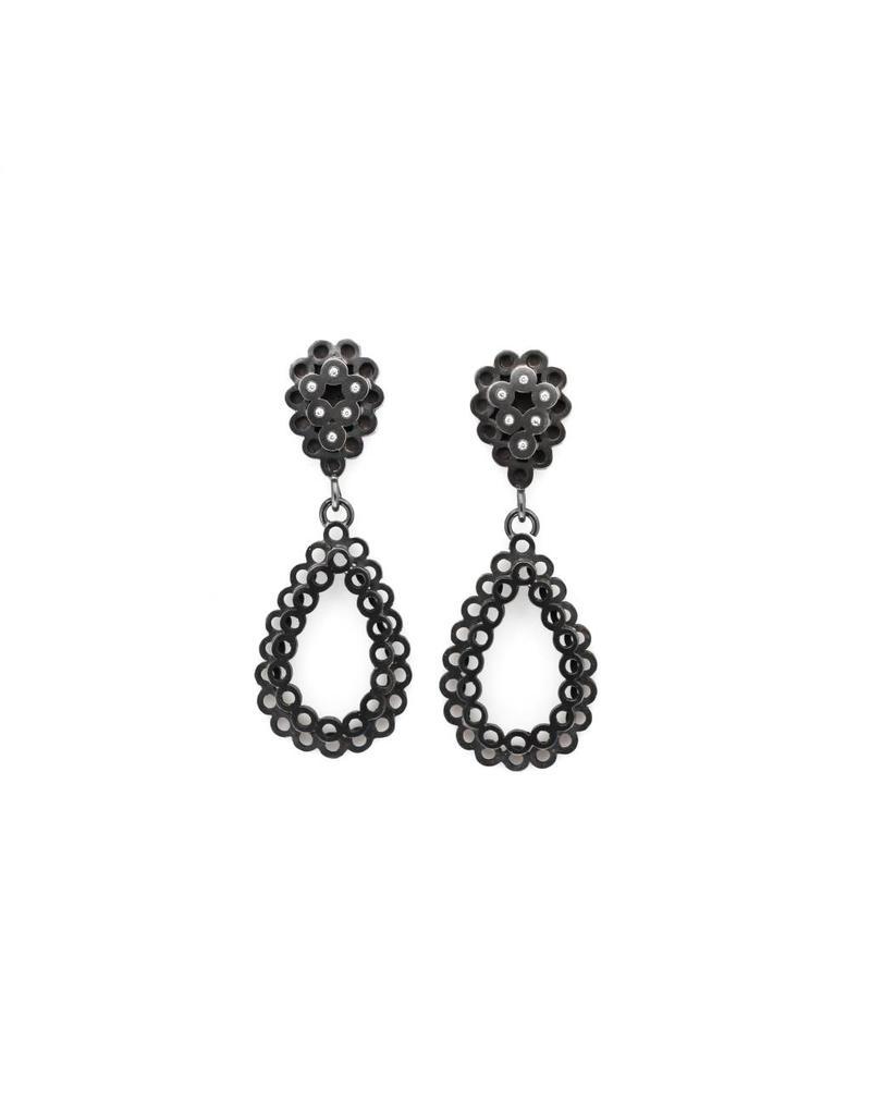 Stacked Teardrop Diamond Post Earrings