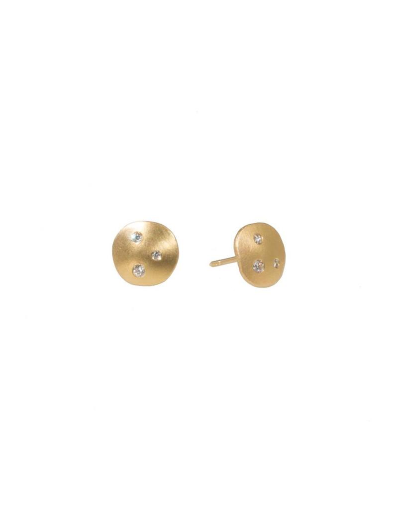 18k Rose Yellow Gold Post Earrings with Diamonds