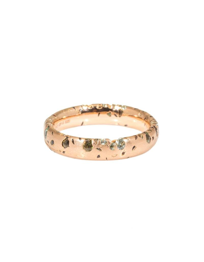 Slim Crystal Ring with Green Sapphires in 18k Rose Gold