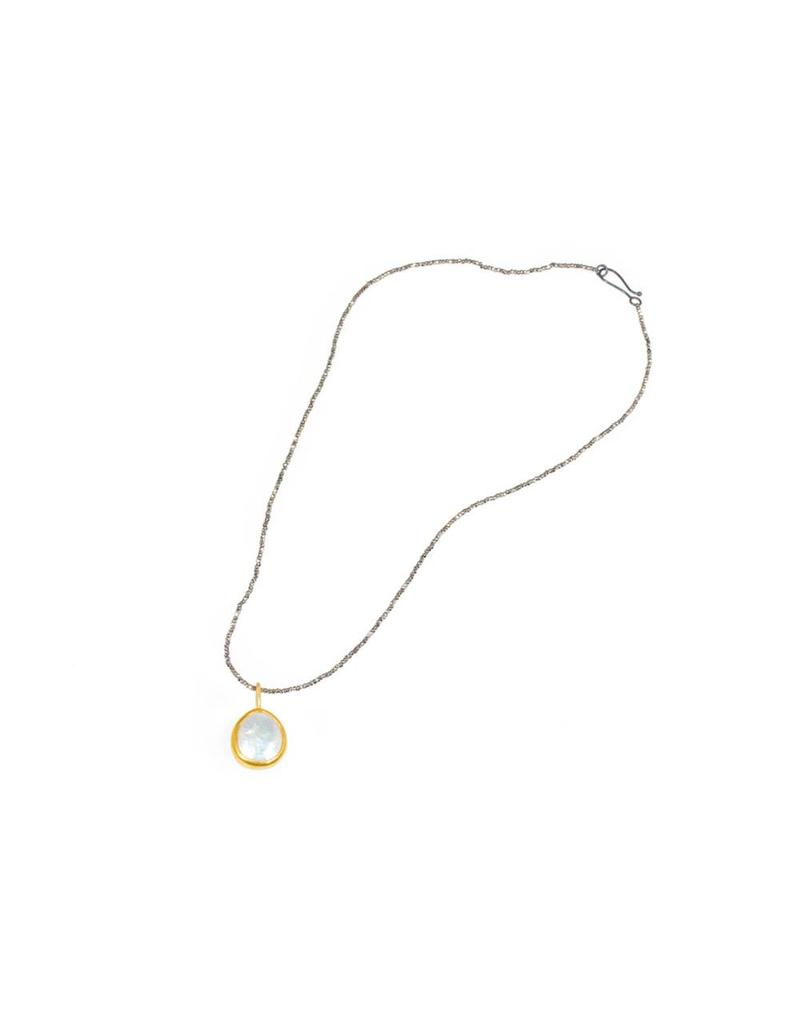 Small Loave Cultured Pearl Necklace wrapped in 22k and Steel Cut Chain