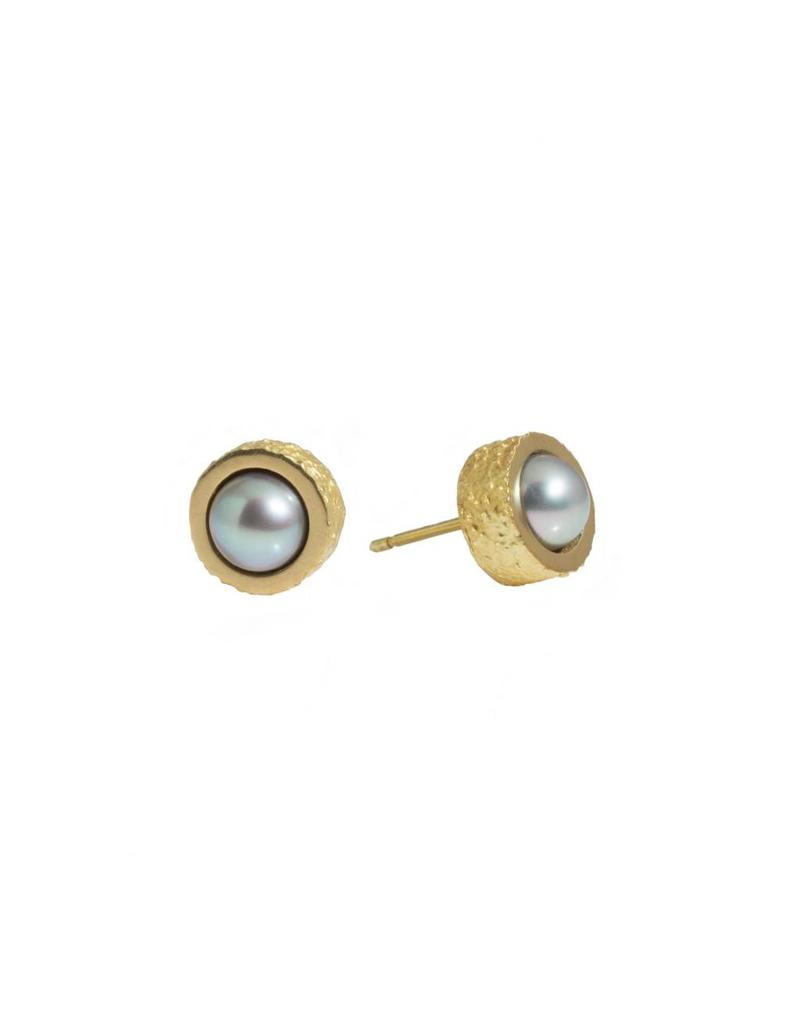 Pearl Post Earrings with Sand Texture in 18k Yellow Gold