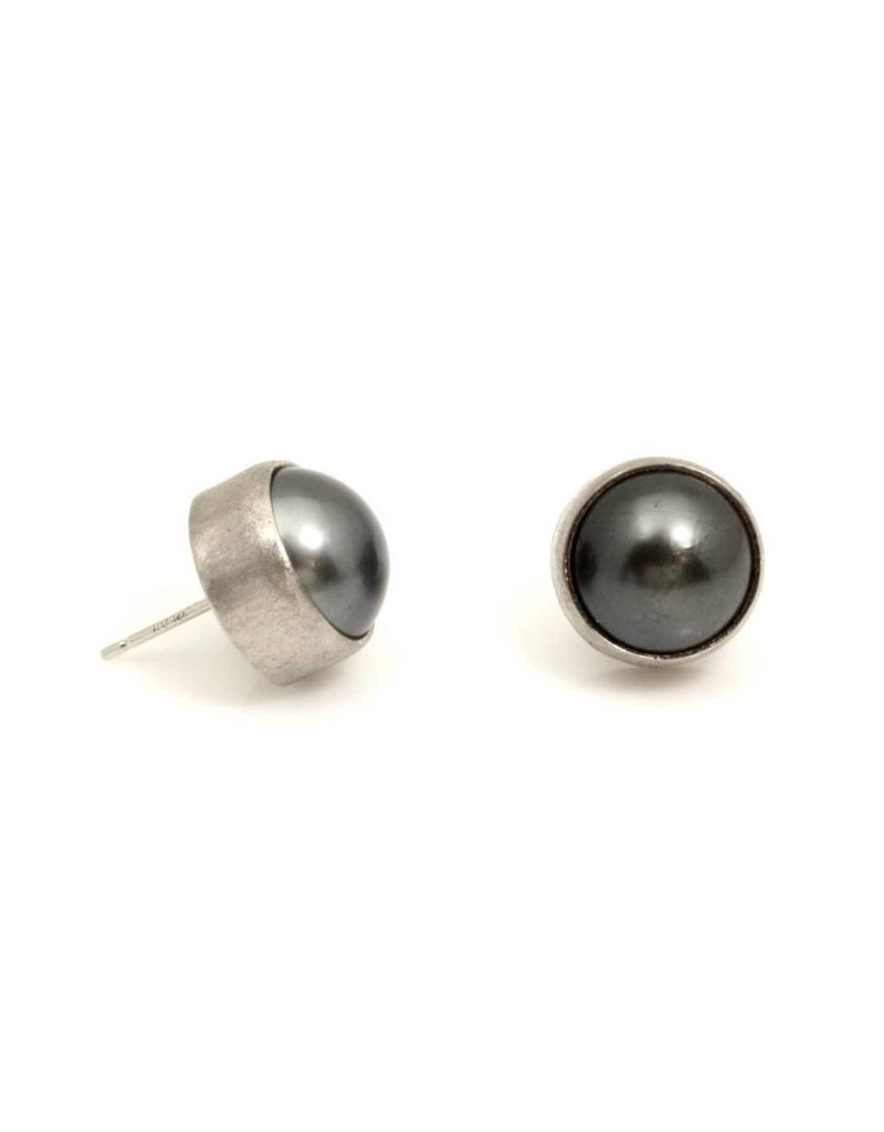 Black Tahitian Pearl Posts in 18k Palladium White Gold