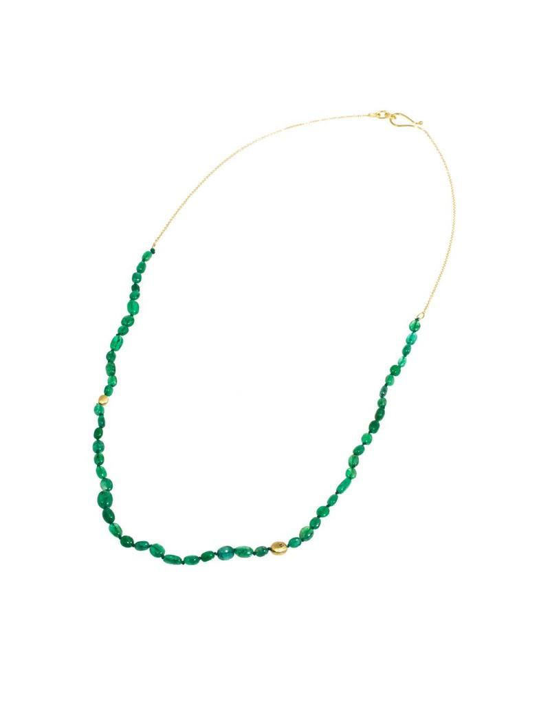Oval Emerald Bead Necklace with 18K Gold Chain