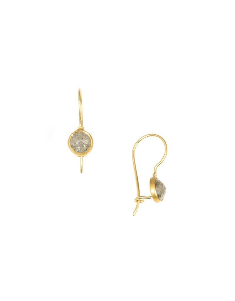 Round Rosecut Grey Diamond Drop Earrings in 18K and 22K Yellow Gold