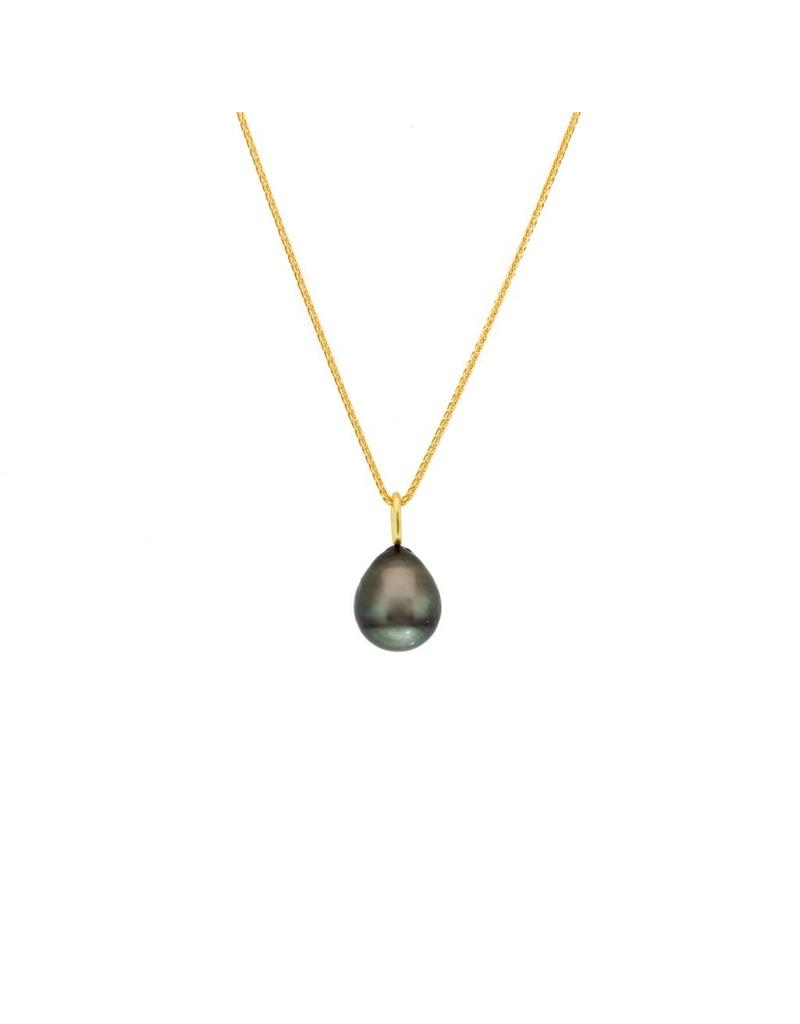 Black Tahitian Drop Pendant with 18k Yellow Gold Bail and Chain