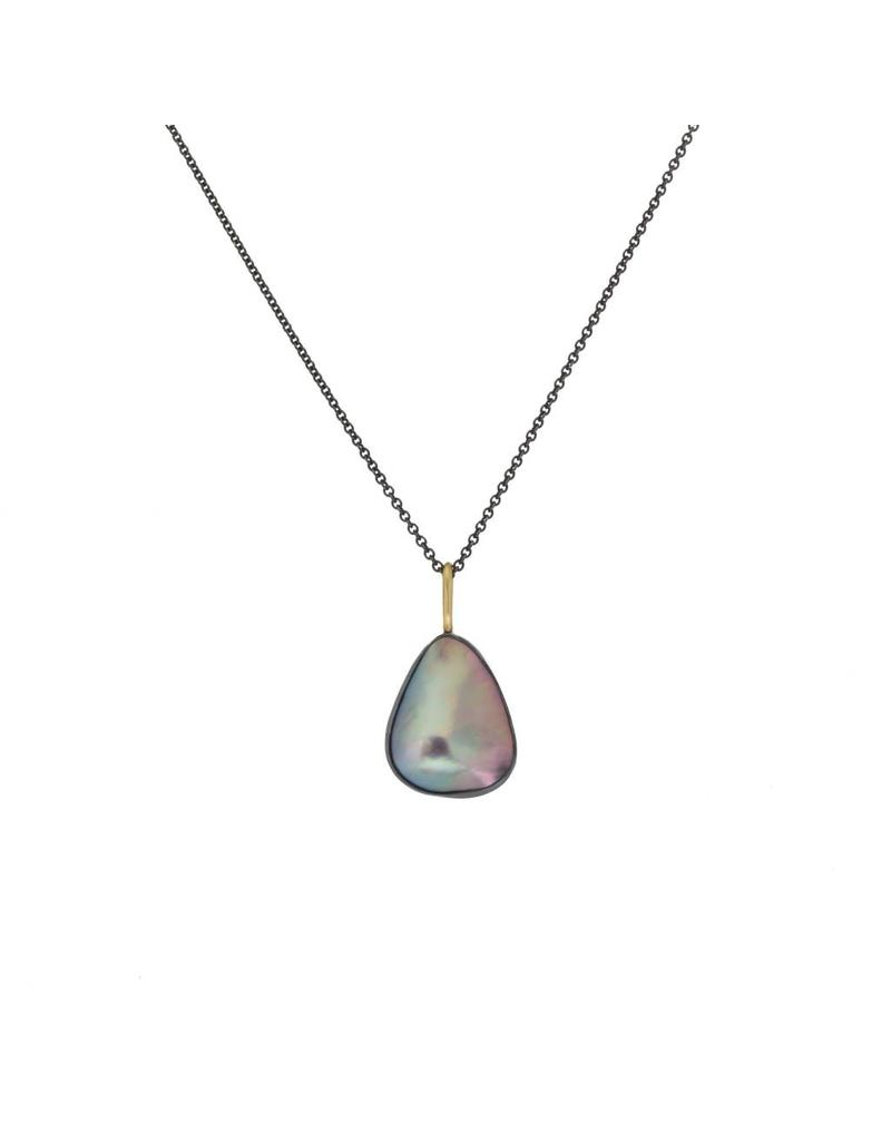 Silver / Violet Mabe Pearl Pendant in Oxidized Silver and 18k Yellow Gold
