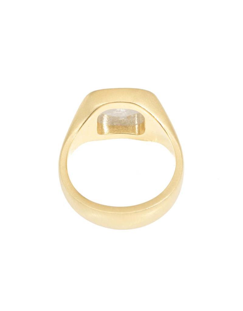 White Square Rosecut Diamond Ring in 18K Yellow Gold