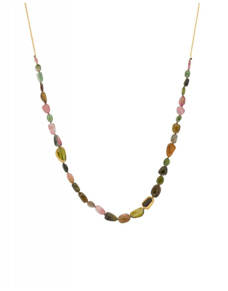 Organic Multi-Colored Tourmaline Bead Necklace in 22K and 18K Gold
