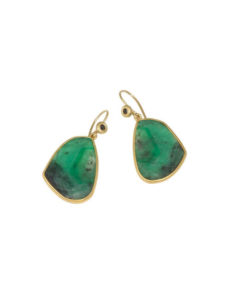 Emerald Slice Earrings in 22K and 18K with Black Diamond