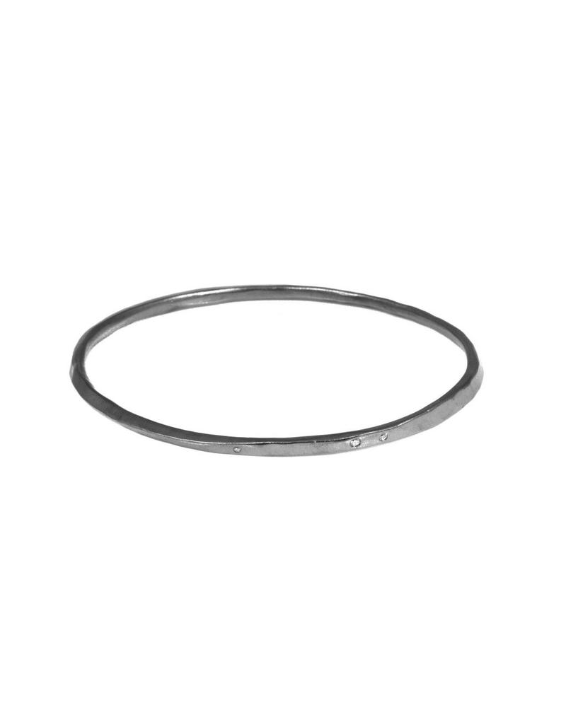 Oval Hammered Twist Bangle with (5) White Diamonds in OxidizedSilver